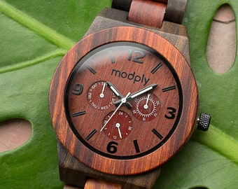 Engraved Wooden Watches for Men, Personalized Wood Watch For Anniversary Gift