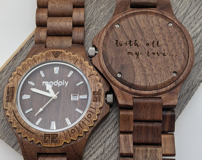 Customized Watch For Men, Retirement Gift, Men Wood Watch, Engraved Watch, Monogram Watch, Personalized Watch, Christmas Gift, Analog