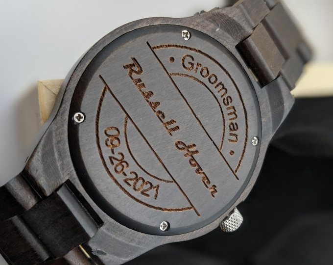 Set Of 5 Groomsmen Gift, Best Man Watch, Engraved Watch, Personalized Watch, Groomsmen Proposal, Monogram Watch, Wood Watch, Wedding Watch