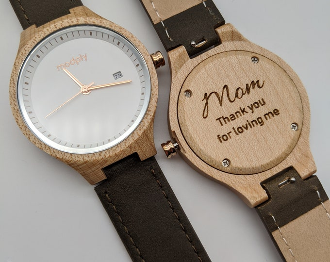 Make Mom smile with a Mothers Day Gift of an Engraved Women's Wood Watch, Personalized Womens Watch, Women's Watch or Custom Bridesmaid Gift