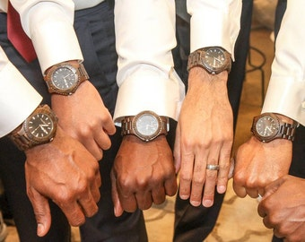 Set of 7 Groomsmen Gift Watches with FREE ENGRAVING. Also great Groomsmen Gift, Best Man Gift, Father of Groom Gift, Wedding Officiant Gift