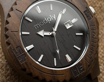 Custom Engraved Mens Wood Watch Personalized Gift Monogram Watches For Men Gift Wrist Watch Jewelry Engagement Gift Dark Wood Watch For Him