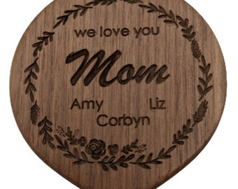 Wood Compact Mirror, Custom Engraved Mirror, Pocket Mirror, Makeup Mirror, Small Mirror, Personalized Mirror, Mother Of The Bride Gift