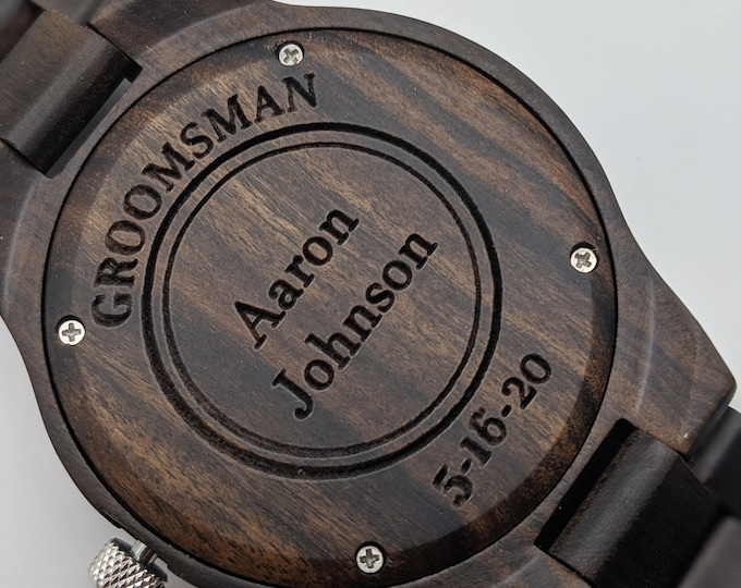 4 Watch Groomsmen Gift Set Wood Watches with FAST PRIORITY SHIPPING.  Great Groomsman Gift, Father of Bride Gift, Father of Groom Gift