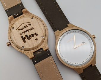 Custom Engraved Womans Wood Watch for Mothers Day Gift or 5th Anniversary Gift or Bridesmaid Gift or Girlfriend Gift or Birthday Gift
