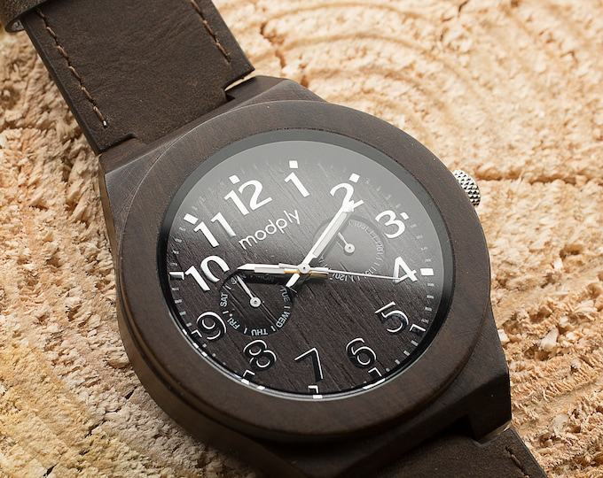 Mens Wood Watch, Wood Watch For Men, Engraved Watch, Monogram Watch, Xmas Gift, Personalized Watch, Custom Watch, Wrist Watch, Leather Watch