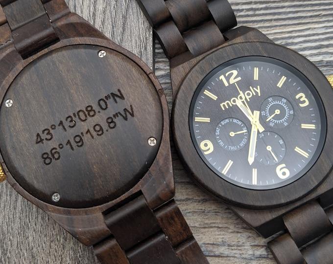 Personalized Gift For Men, Men Wooden Watch, Engraved Wood Watch, Boyfriend Gift, Anniversary Gift, Personalized Watch, Custom  Wooden Watch