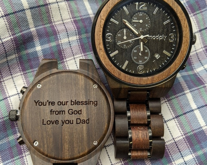 Personalized Wood Watch, Engraved Watch, Retirement Gift, Custom Watch, Father Of The Groom Gift, Monogram Watch, Dad Gift, Husband Gift