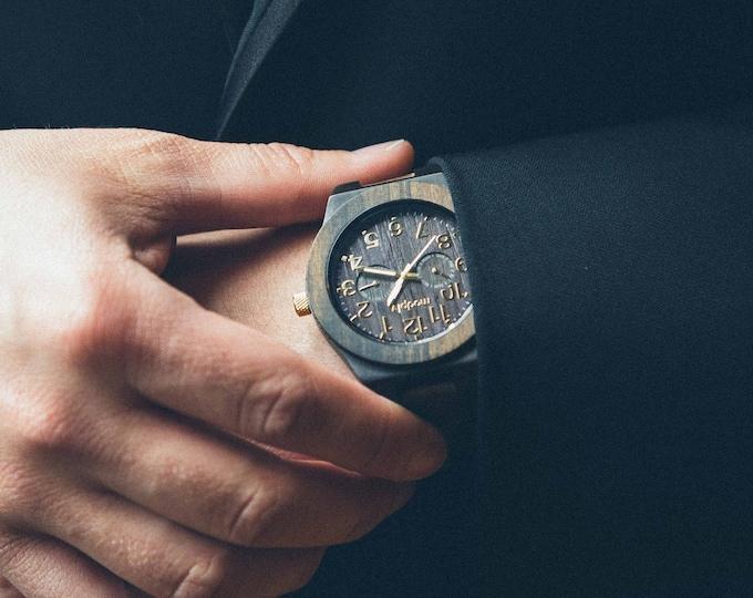 Wood Watch For Men, Personalized Wooden Watch, Engraved Wood Watch, Secret Santa Xmas Gift, Leather Watch, Mens Wood Watch, Custom Watch