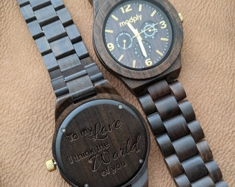 Graduation Gift, Engraved Wooden Watch, Wood Watch For Men, Anniversary Gift For Him, Birthday Gift, Personalized Wood Watch