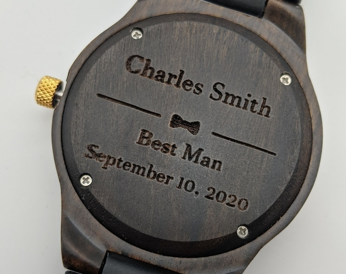 Set Of 5 Wood Watches, Engraved Watches, Groomsmen Watches, Wedding Officiant Gift, Father Of The Groom Watch, Best Man Watch, Dark Wood