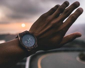 Men Watch, Wood Watch, Engraved Watch, Monogram Watch, Men Gift, Personalized Watch, Custom Watch, Wrist Watch, Leather Watch, Groom Watch
