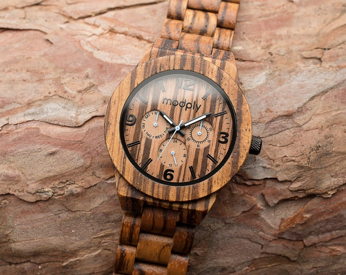 Personalized Mens Gift, Engraved Wood Watch, Monogram Watch, Custom Watch, Battery Watch, Retirement Gift, Unique Watch, Back To School Gift