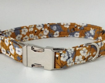 Handmade Liberty Exclusive Mitsi Fabric Dog Collar With Welded Nickel D Ring