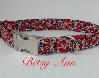Handmade Pretty Floral Liberty Fabric Dog Collar With Welded Nickel D Ring