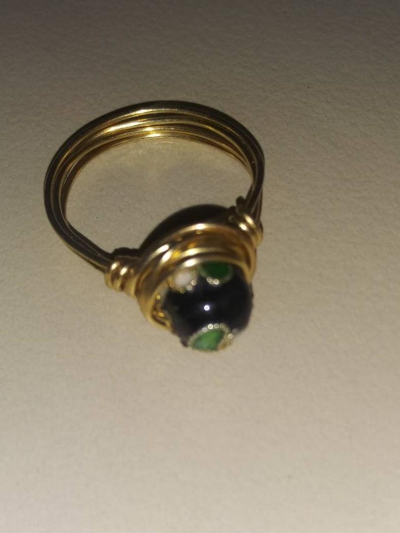 Decorative Black Cloisonne Ring
