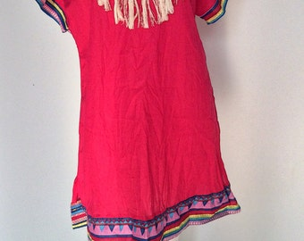 Clearance SALE Boho..Bohemian Bright Pink short cotton Dress decorated with thread embroidery (DS-212)