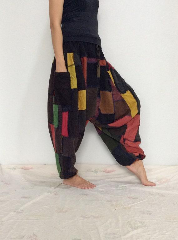 Noir unisexe, jaune Orange Patchwork Hippie sarouel, pantalon unisexe, Noir Baggy pantalon (HR-702) 8a45d4