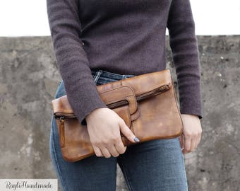 Women's Handmade Leather Clutch Dip-dye Leather Handbag Cross Body Bag-Multifunctional 3-Style