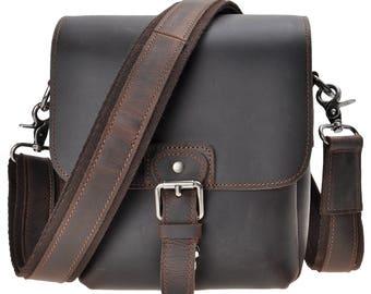 Mini Leather Camera Bag, DSLR SLR Bag Removable Shockproof Padded Camera Case, Small Messenger Shoulder Bag, Satchel