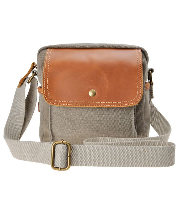 Canvas Camera Bag Small Dslr Bag Leather Trim Pouch Padded Etsy