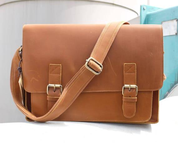 e47ef42b2c69 Men Vintage Leather Briefcase 15 Inch Laptop Bag Leather