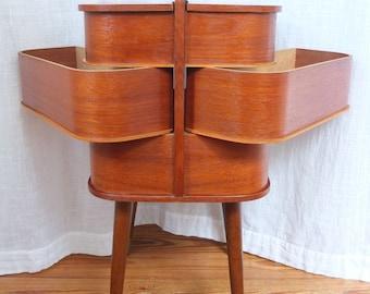 Sewing box Sewing box Sewing box Sewing basket Sewing cabinet danish design Teak mid century vintage retro