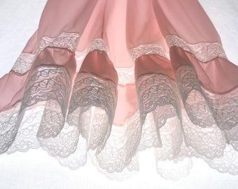 Negligee ladies underwear nylon petticoat underdress Babydoll lace pleated rose white 50s Sudania vintage