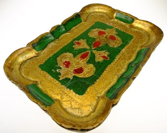 Tray serving table oriental plate serving platter baroque gold color green tray
