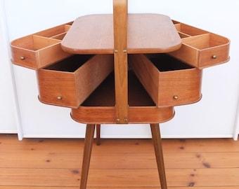 Sewing box Sewing box Sewing box Sewing basket Sewing cabinet Rudersberg Teak mid century vintage retro