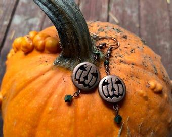 Copper Jack O'Lantern Halloween Earrings
