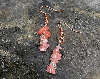 Cherry Quartz & Copper Earrings