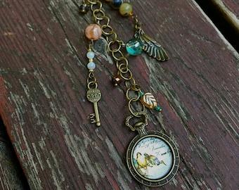 Antique Brass Bird Planner or Bag Charm