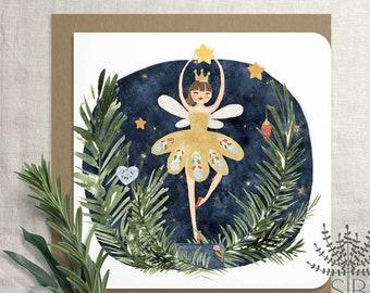 Nutcracker Christmas card, Sugar Plum Fairy nutcracker greeting card, balerína karácsonyi képeslap, diótörős karácsonyi képeslap, ballerina