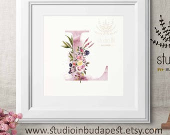Initial wall art, watercolor Floral Letter, Printable initial, Monogramed Art, Alphabet Letter, Letter L, Monogram Initial, INSTAT DOWNLOAD