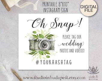 Green printable wedding instagram sign, woodland custom sign, green rustic instagram sign, foliage wedding digital PRINTABLE,