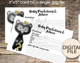 Advice Card, Prediction card, Advice for the new Mom, whimsical bear baby shower invitation, New parents advice card, INSTANT Download