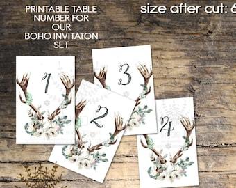 Wedding Table Numbers 1-20, Printable Table sign, boho table number, antler table numbers, woodland table sign, Wedding table Sign,