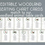 Woodland Animal Seating Chart Rustic Woodland Table Assignment Card Hanging Animal Table Cards Editable Woodland Seating Plan Forest Wedding