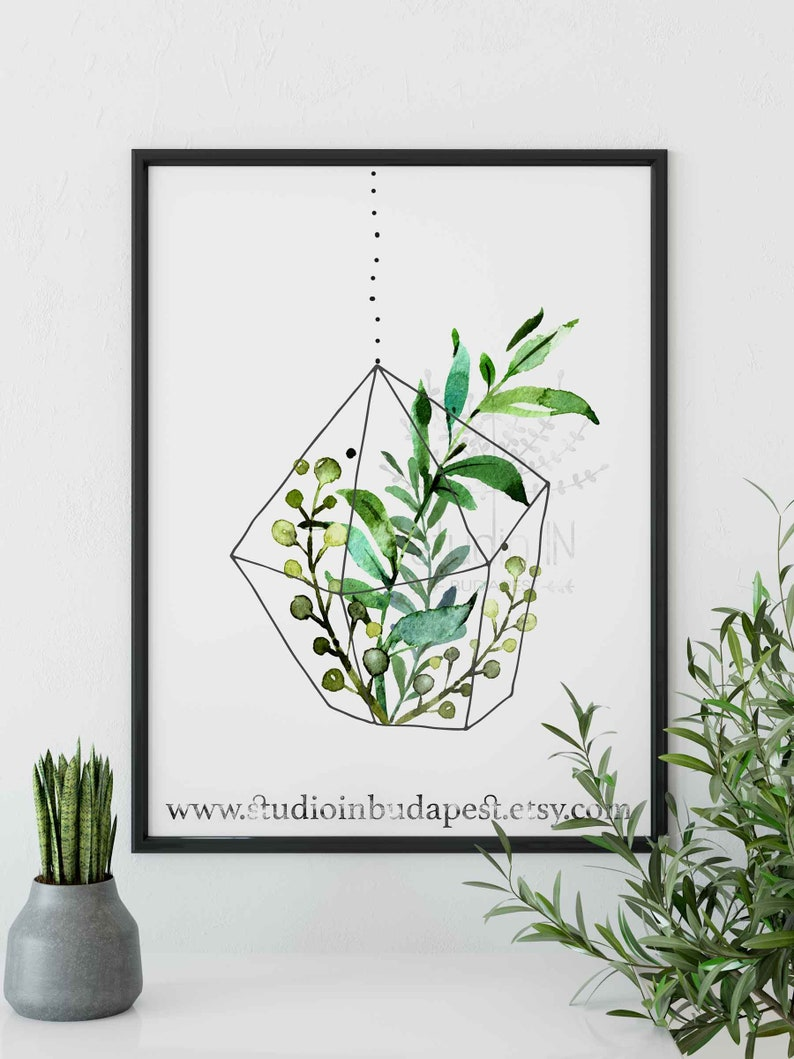 Hanging plant printable wall decoration green leaf wall art greenery wall plant wall decor hanging plant printable foliage wall decor