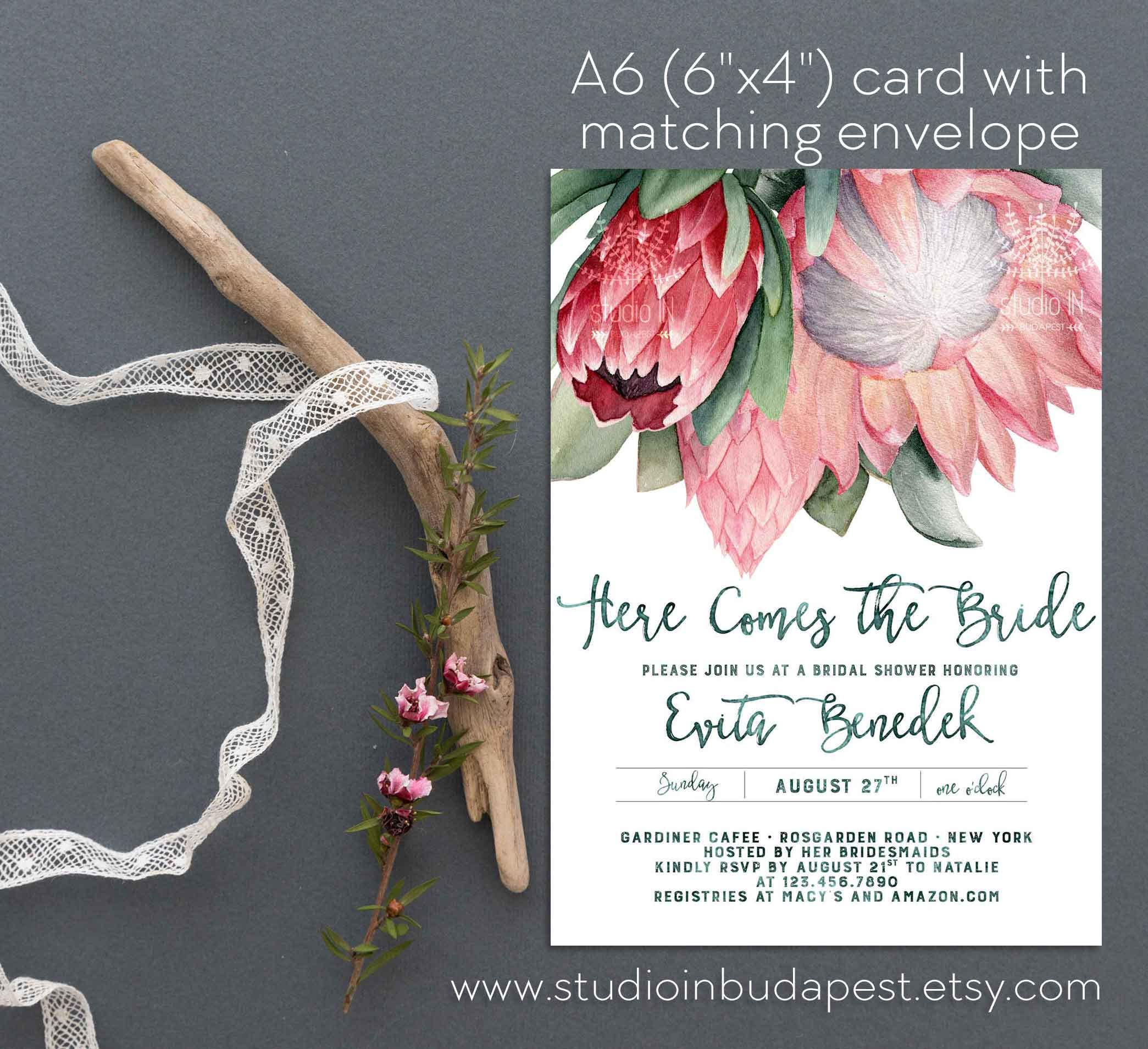 Protea Bridal Shower Invitation Bachelorette Party Etsy