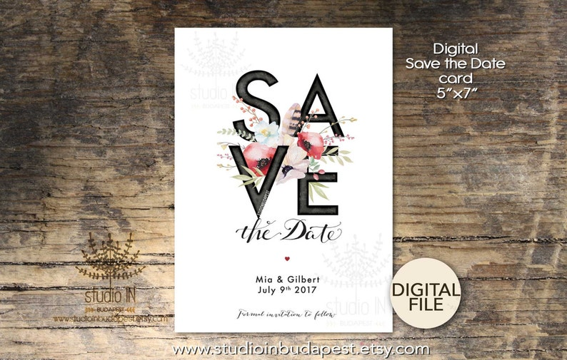 Save The Date Card Printable Save the date card Wedding image 0