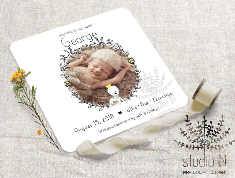 photo regarding Printable Baby Announcement identify Start announcement card, kid boy announcement, printable child beginning card, toddler announcement, refreshing kid picture card
