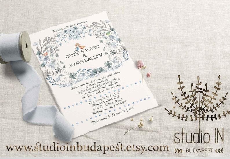 Love birds wedding invitation Printable whimsical flower and image 0