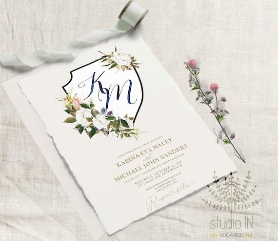 Outdoor Wedding Invitations: Crest Wedding Invitation Outdoor Wedding Garden Wedding