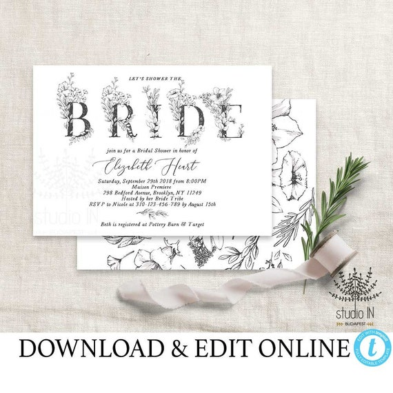 Bridal Shower Invitation Template Botanical Bridal Shower Etsy