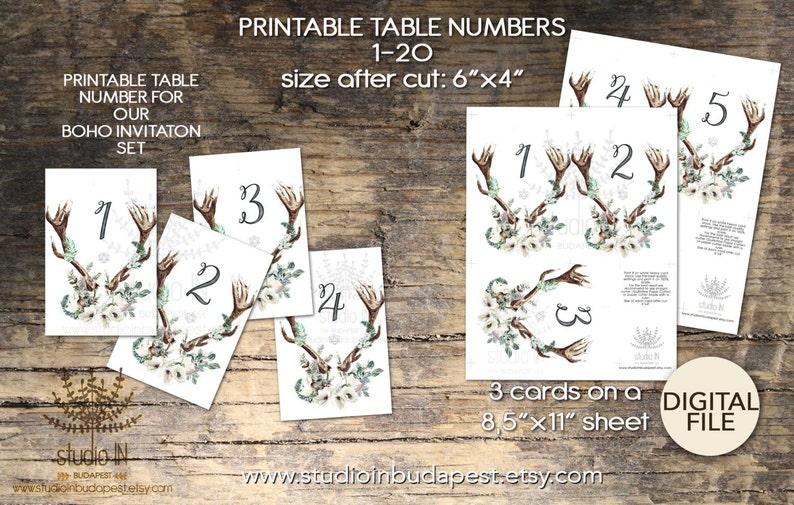 Wedding Table Numbers 1-20 Printable Table sign boho table image 1