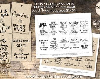 Funny Christmas tag, Funny christmas label, Xmas tags printable, Christmas tag printable, funny craft paper tags, printable tags, gift tag,