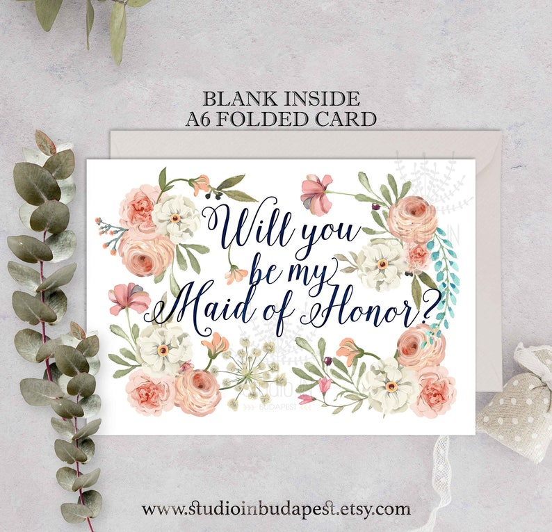 Maid of honor Card Will You Be My Maid of Honor Greeting image 0