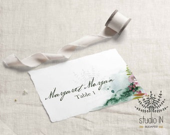 Table Place Card, winter wedding floral card template, printable escort card, Seating card, Table card template, PDF Adobe template